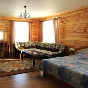 Большая гостиная-спальня с диваном, столиком и двуспальной кроватью